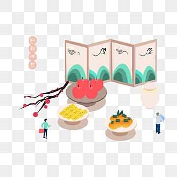 한국 가을 이브 만화 음식 악당 일러스트 레이션 추석 달, 선물 상자, 쇼핑, Food PNG 및 PSD