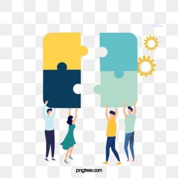 그림을 들고 팀워크 만화 퍼즐, 협동, 병도, 노랑색 PNG 및 PSD
