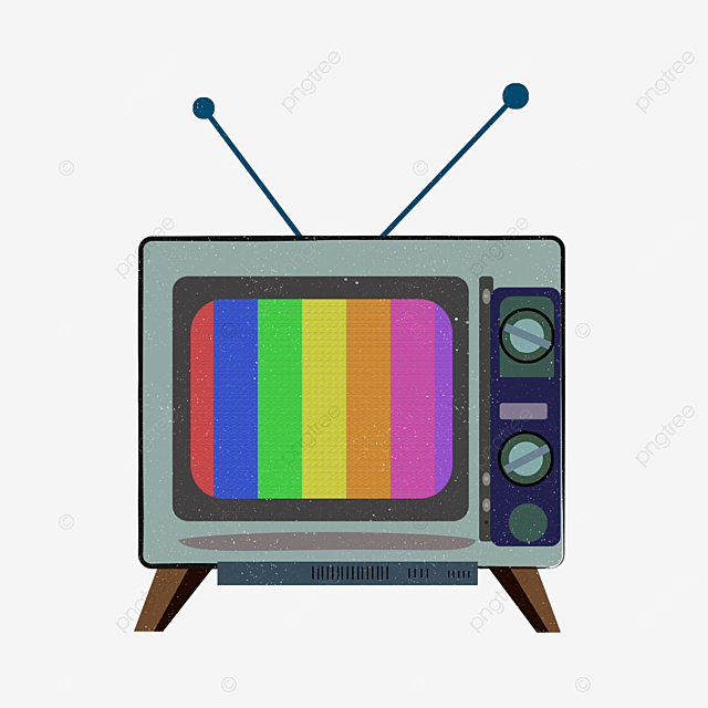 Cartoon Retro Blue Tv Illustration, Vintage, Television, An