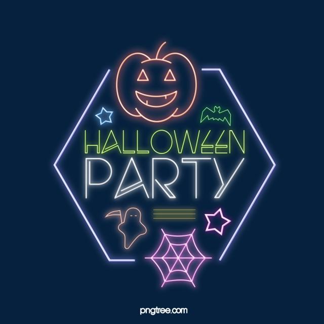 Modern Fashion Cartoon Effect Neon Glow Lines Halloween