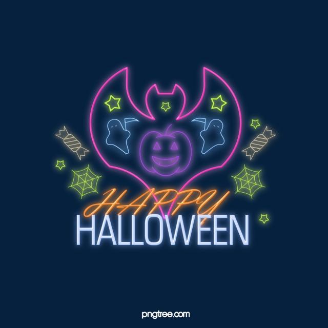 Neon Effect Halloween Glowing Line Element, Element, Modern