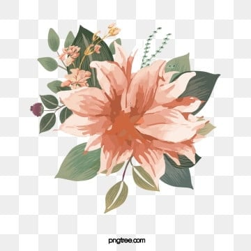 hand drawn floral flowers leaves plant elements, Leaf, Stamen, Flowers PNG and PSD