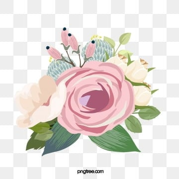 light pink hand drawn flower plant leaf flower element, Flowers And Plants, Elegant And Quiet, Pink PNG and PSD