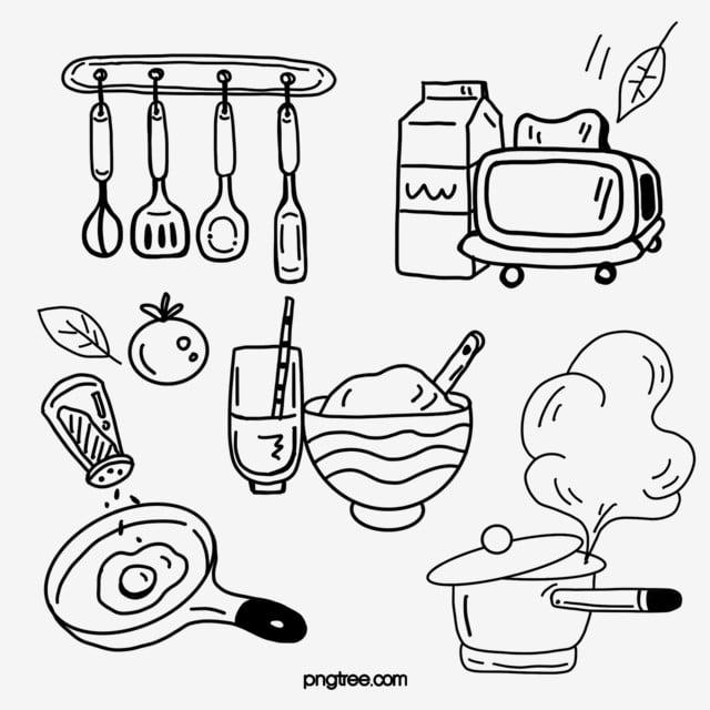 Kitchen Supplies Black Line Drawing Hand Drawn Kitchen