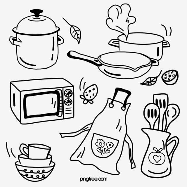 Kitchen Utensils Apron Black Line Drawing Hand Drawn