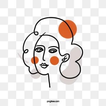 black cartoon line woman avatar, Brief Strokes, Cartoon, Decoration PNG and PSD