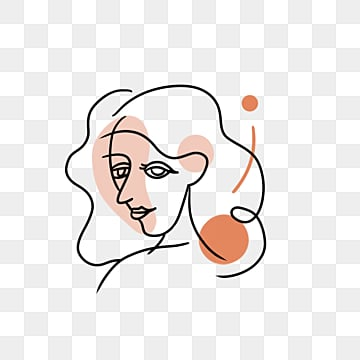 black line outline color block girl avatar, Brief Strokes, Cartoon, Decoration PNG and PSD