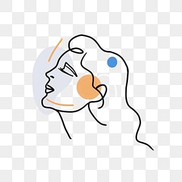 cartoon beauty line color block avatar, Brief Strokes, Cartoon, Decoration PNG and PSD