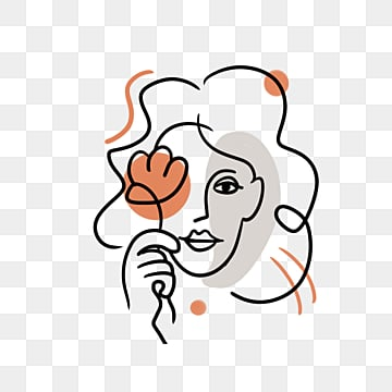 hand drawn line color block woman avatar, Hand Painted, Line, Simple PNG and PSD