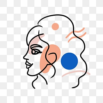 line color block set off woman avatar, Brief Strokes, Cartoon, Decoration PNG and PSD