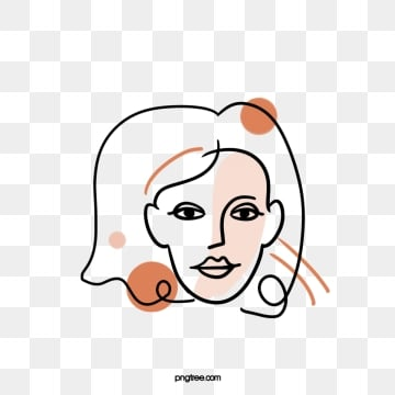 line color block woman avatar, Brief Strokes, Cartoon, Decoration PNG and PSD