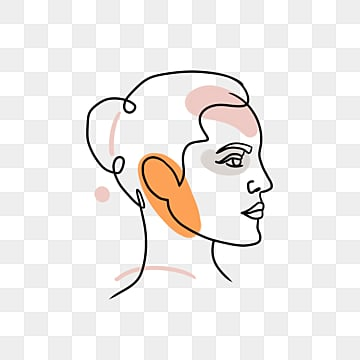 line drawing female avatar, Brief Strokes, Cartoon, Decoration PNG and PSD