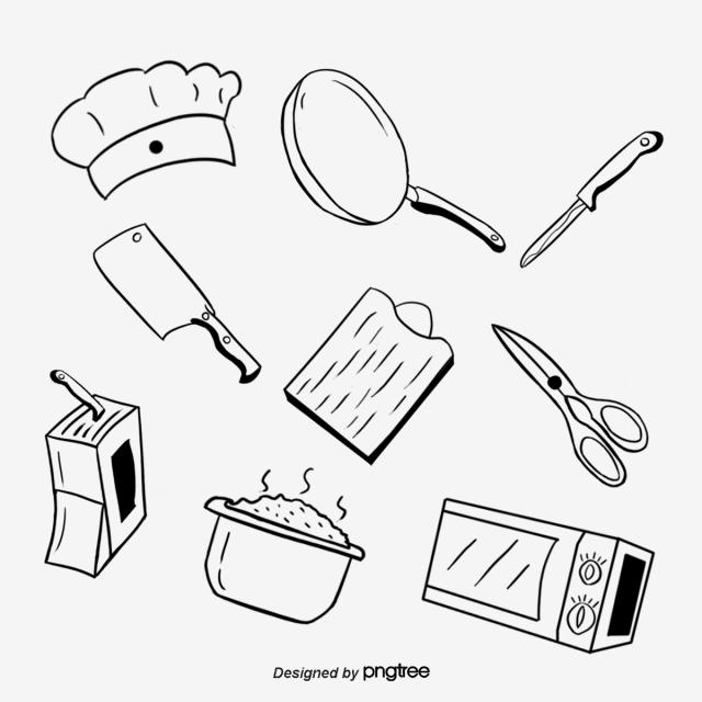 Kitchen Utensils Line Drawing Chef Hat Pot Pocket Knife