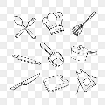 Free Download Vector Black Lines Simple Kitchen Utensils