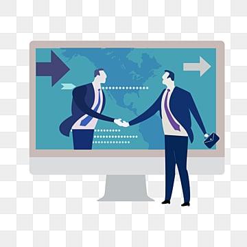 비즈니스 남자 악수 협력 데이터 추진 그림, 상무., 도전하다, Data PNG 및 PSD
