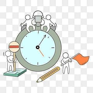 만화 손으로 그린 시계 팀워크 그림, 팀, 협업, 만화 PNG 및 PSD