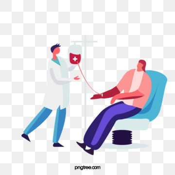 cartoon hand drawn doctor blood transfusion medical illustration, Doctors, Patient, Chair PNG and PSD