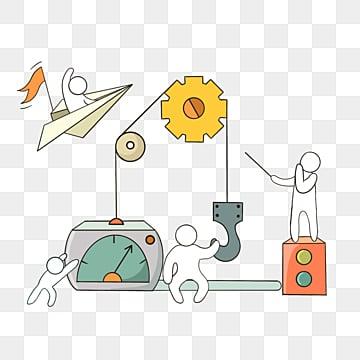 만화 손으로 그린 기어 작업 선 그리기 팀워크 그림, 팀, 협업, 만화 PNG 및 PSD