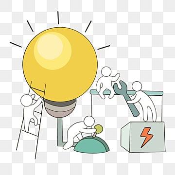만화 손으로 그린 전구 팀웍 선 그리기 그림, 팀, 협업, 만화 PNG 및 PSD