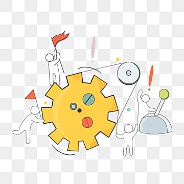 만화 손으로 그린 팀웍 실행 선 그림, 팀, 협업, 만화 PNG 및 PSD