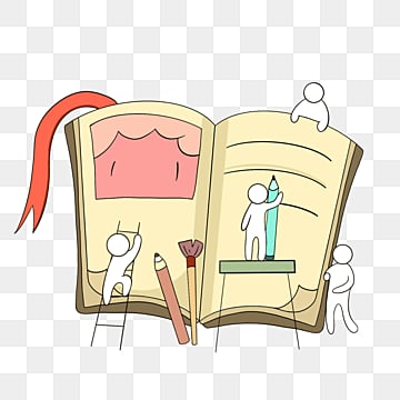 만화 손으로 그린 팀웍 쓰기 책 작은 사람 일러스트 레이션, 팀, 협업, 만화 PNG 및 PSD