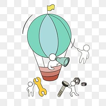 손으로 그린 열기구 팀워크 그림, 팀, 협업, 만화 PNG 및 PSD