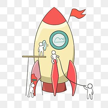 손으로 그린 로켓 팀워크 라인 일러스트, 팀, 협업, 만화 PNG 및 PSD