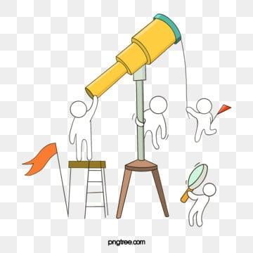 손으로 그린 팀워크 망원경 선 그리기 그림, 팀, 협업, 만화 PNG 및 PSD