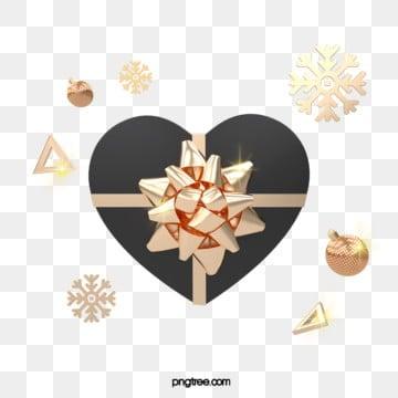 3d 블랙 골드 사랑 크리스마스 선물 상자, 금빛, 질감, Stereoscopic PNG 및 PSD