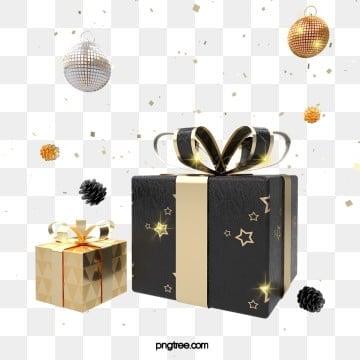 3d 블랙 골드 질감 크리스마스 선물 상자, 3 D., 흑백 금, 질감 PNG 및 PSD