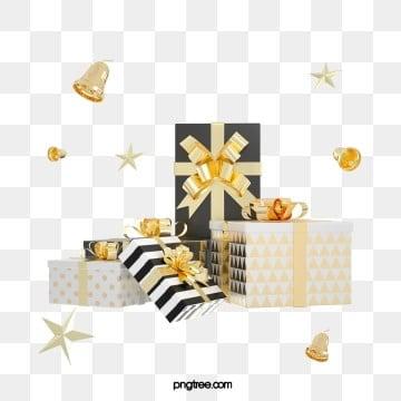 3d 크리스마스 블랙 골드 축하 선물 상자, 명절, 파티, 3 D. PNG 및 PSD
