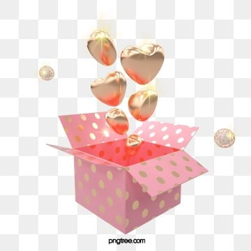 3d 황금 사랑 풍선 선물 상자, 명절, 3 D., 선물을 보내다 PNG 및 PSD