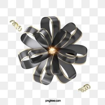 3d 휴일 축하 블랙 골드 나비 넥타이 꽃, 명절, 축하하다, 파티 PNG 및 PSD
