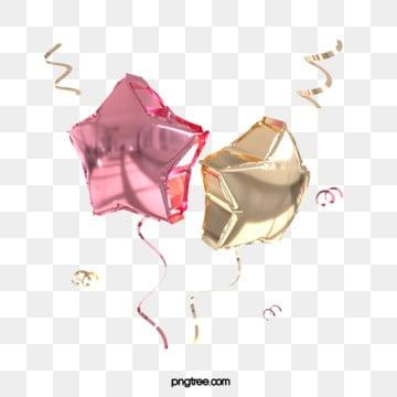 3d 장미 다섯개 별 축제 축하 풍선, 금빛, 축전, 금을 박다 PNG 및 PSD