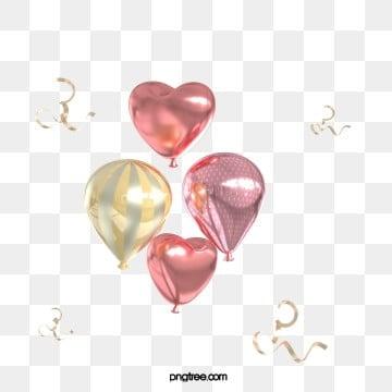 3d 로즈 골드 질감 사랑 열기구, 축전, 축하하다, 질감 PNG 및 PSD
