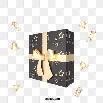 3d 텍스처 블랙 골드 크리스마스 축 하 선물 상자, 3 D., 금빛, Stereoscopic PNG 및 PSD