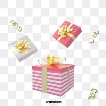 3d 입체 핑크 질감 휴일 축하 선물 상자, 금빛, 선물케이스, Christmas PNG 및 PSD