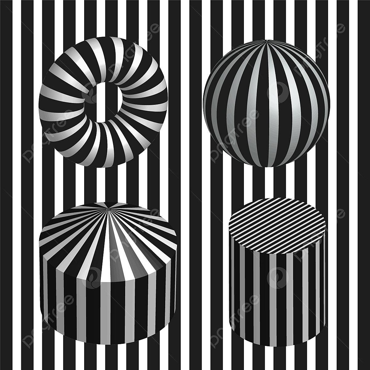 Disegni Geometrici Bianco E Nero 4 geometriche illusioni ottiche con sfondo bianco e nero, 3d