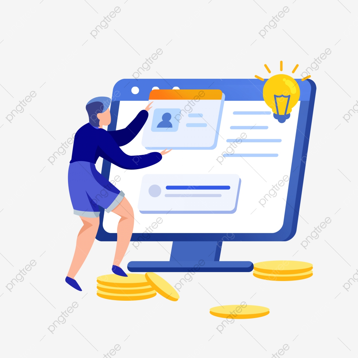 Cartoon Boy Playing Computer Free Clipart Yellow Light Bulb Cartoon Boy Cartoon Pattern Png Transparent Clipart Image And Psd File For Free Download