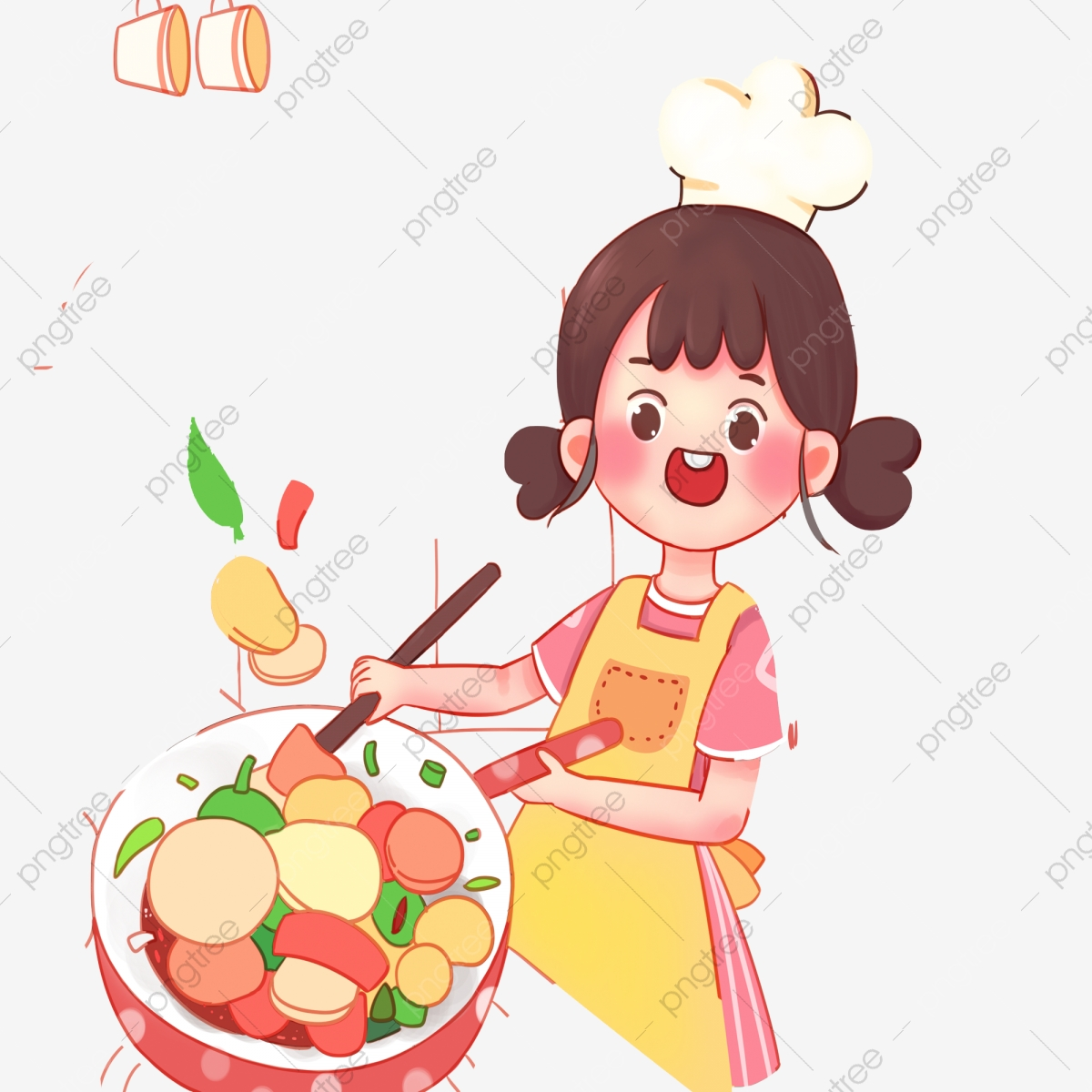 Cartoon Cute Girl Cooking A Dish Cartoon Cute Girl Png Transparent Clipart Image And Psd File For Free Download