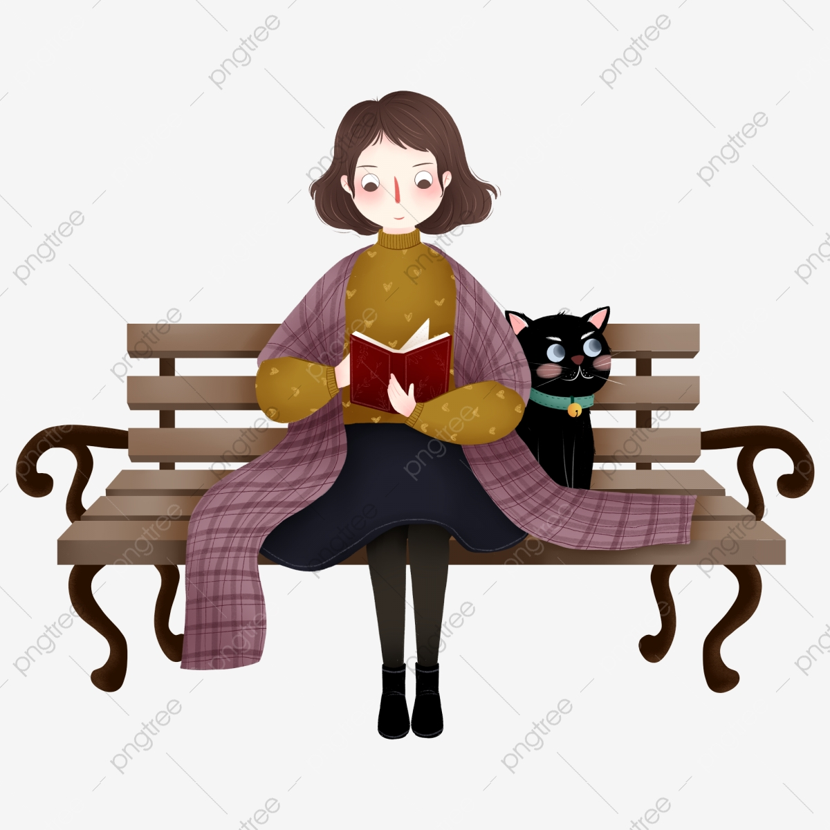 Peachy Cartoon Cute Girl Element Sitting On A Bench Reading A Book Squirreltailoven Fun Painted Chair Ideas Images Squirreltailovenorg