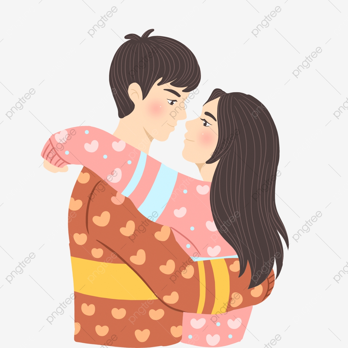 Cartoon Cute Sweet Hugging Little Couple Cartoon Cute Sweet Png
