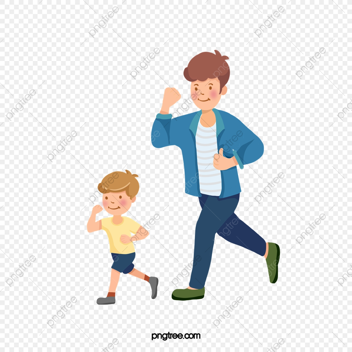 Cartoon Father And Son Running Together, Father, Son, Dad