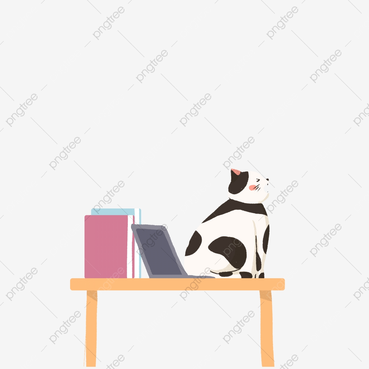 Cartoon Office Desktop And Cat Free Clipart Electronic Computer Books Desk Png Transparent Clipart Image And Psd File For Free Download