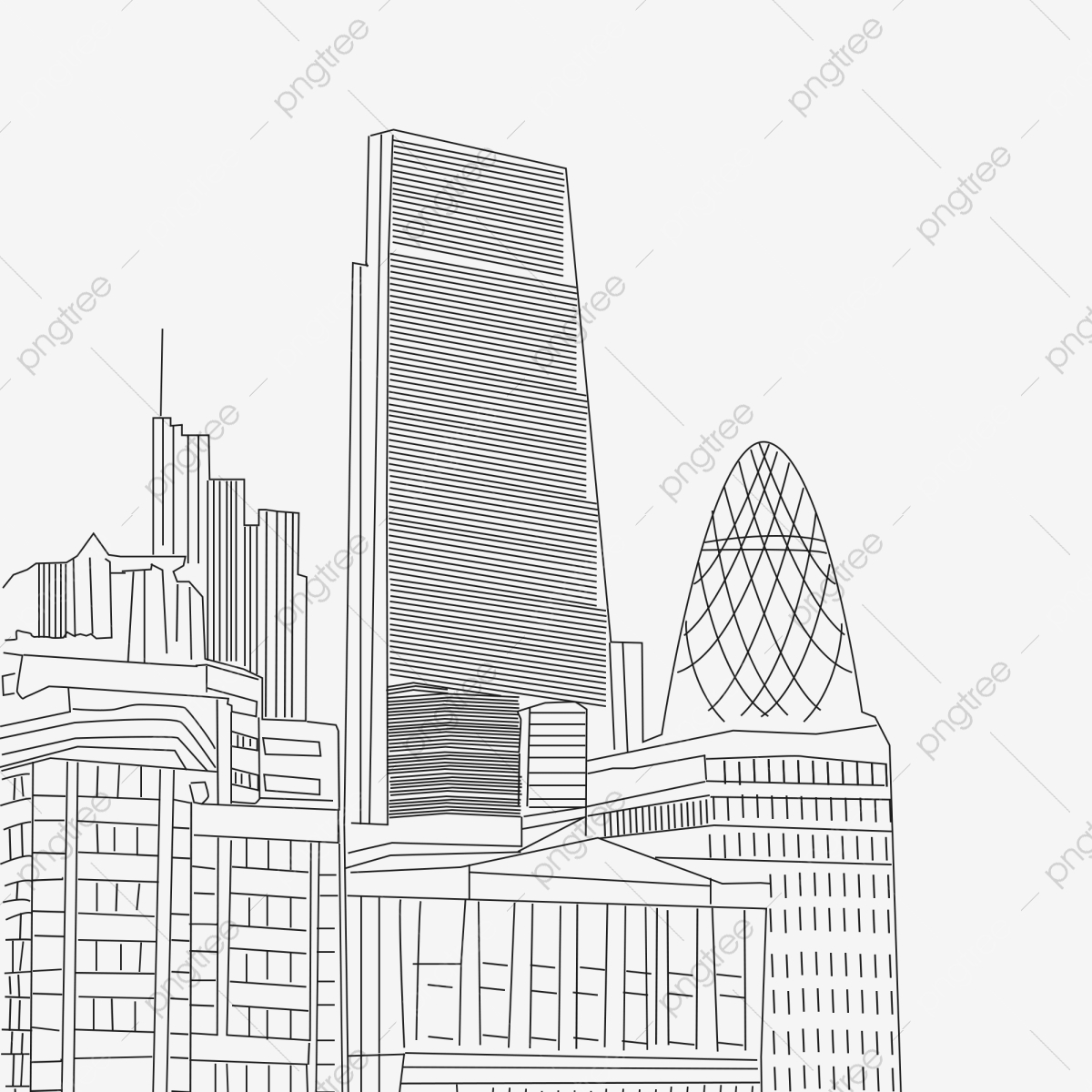 City building line drawing line black and white city