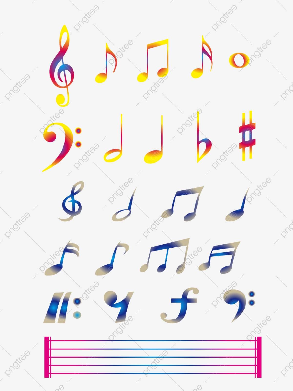 Colored Gradient Music Notes Gradient Color Notes Png And Vector With Transparent Background For Free Download