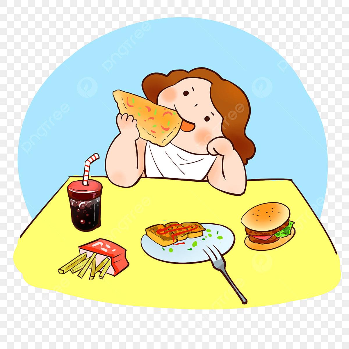 Desain Spanduk: Gambar Elemen Desain Makanan Kartun Lucu Untuk Makan Gadis