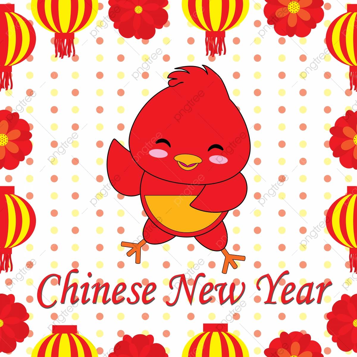 Cute Rooster On Polka Dot Background Suitable For Chinese New Year Postcard Greeting Card And Wallpaper Year Png And Vector With Transparent Background For Free Download