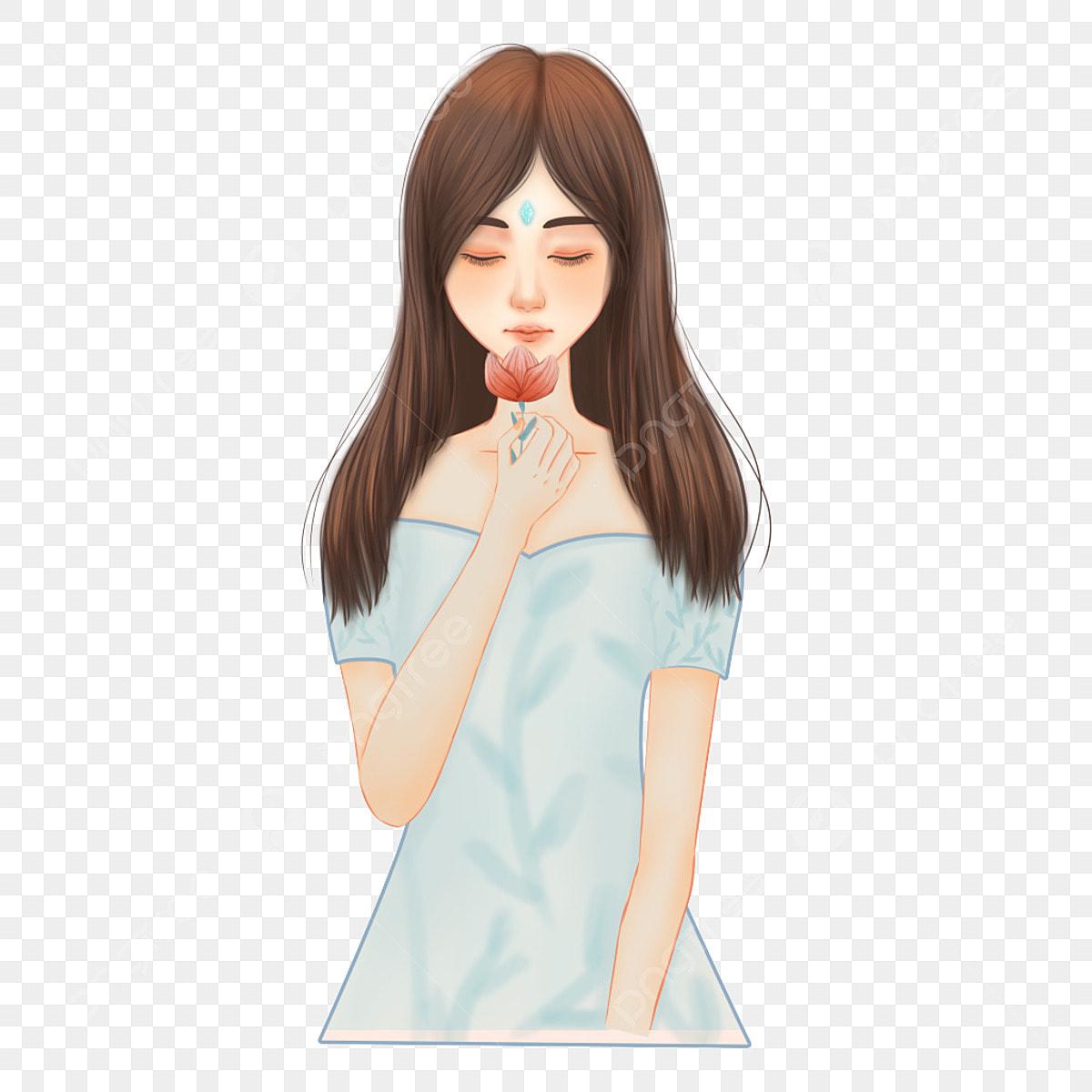 Gambar Kartun Wanita Rambut Panjang Gambar Cute Rambut Panjang Wanita Kartun Cantik Cute Cantik Tangan Yang Ditarik Png Dan Psd Untuk Muat Turun Percuma