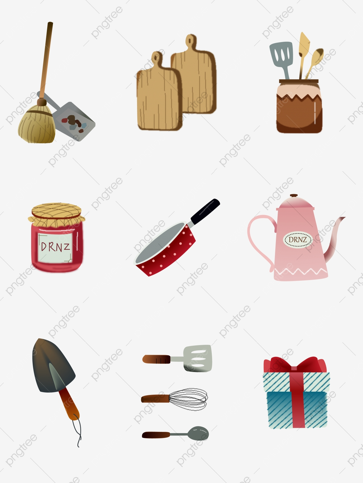 Everyday Cartoon Cute Hand Painted Home Kitchen Small Items Vector Material Broom Chopping Board Kitchenware Png And Vector With Transparent Background For Free Download